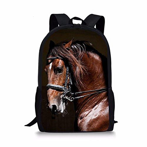 Horse Head Pattern - Coloranimal Stylish 3D Horse Head Pattern Kids School Shoulder Backpack ¡