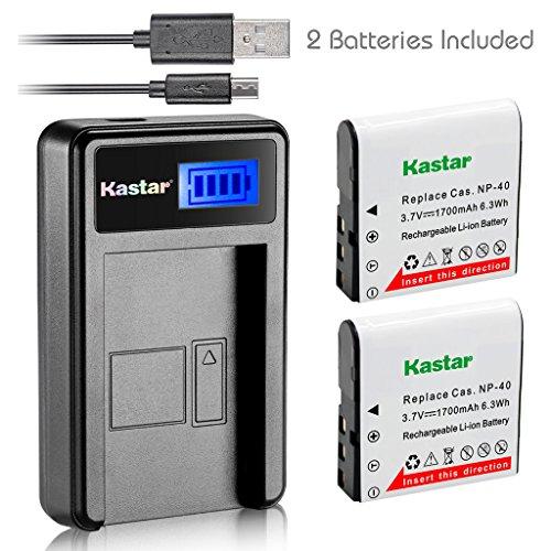 - Kastar Battery (X2) & LCD USB Charger for Casio NP-40 and Exilim Z400 FC100 FC150 FC160S P505 P600 P700 Z100 Z1000 Z1050 Z1080 Z1200 Z200 Z30 Z300 Z40 Z450 Z50 Z500 Z55 Z57 PRO EX-Z600 Z700 Z750 Z850