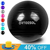 arteesol Exercise Yoga Ball, Extra Thick Stability Balance Ball (45-75cm), Professional Grade Anti Burst&Slip Resistant Balance, Fitness&Physical Therapy, Birthing Ball with Air Pump (Black, 75cm)