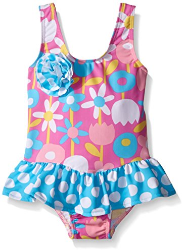 Flap Happy Little Girls UPF 50+ Serena Contrast Swimsuit with Ruffle Skirt, Petal Pops, 6 (Flap Happy Clothes)