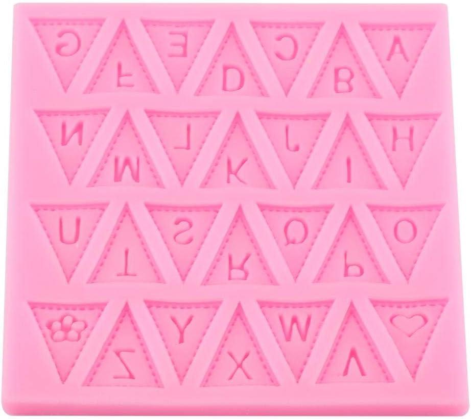 26 Letras inglesas Bandera Molde de Silicona Fondant Molde de Chocolate Decoraci/ón de Pasteles Herramienta para Hornear Galleta Molde DIY Rosa
