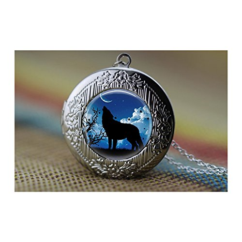 Alone wolf locket Necklace, Wolf and Full Moon locket pendant, Wolf in Full Moon locket necklace, Art Gifts, for Her, for him