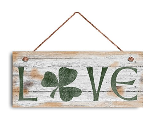 Augus Church Love Sign, Shamrock Sign, Rustic and Distressed Style, Holiday Door Sign, 6