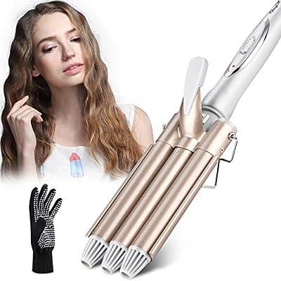 Rizador de pelo, Pinzas Rizadoras ,Rizador de Pelo de Cerámica de la Turmalina de 3 Barriles Rizador de la Onda Grande de la Ondulación Permanente de la Ondulación de la Perla -CkeyiN: