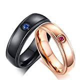 JAJAFOOK Titanium Steel Blue Pink Cubic Zirconia Couple Rings for Men Women