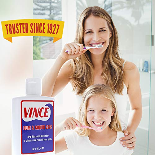Vince Gum and Mouth Care - Oral Rinse and Dentifrice - 4 Ounce - Oxygenating Oral Rinse - Improve Gum Health - Cleanse and Refresh Your Gums - Pleasantly Flavored