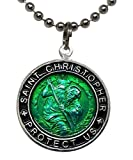 St. Christopher Surf Necklace, Large Pendant, Green with Black Rim, 23 Inch Ball Chain