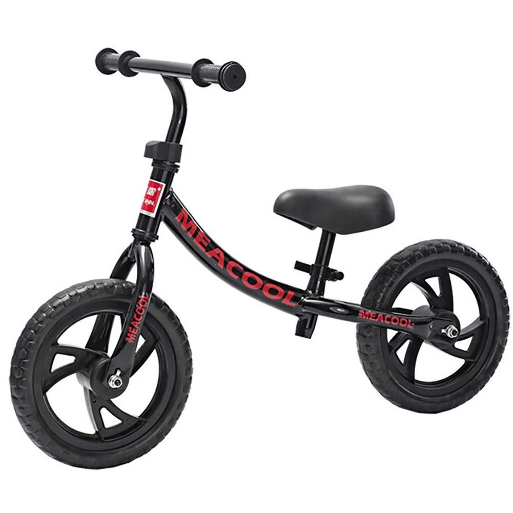 FJ-MC Unisex Laufrad, 12  Kein Pedal Walking-Trainingsfahrrad, mit verstellbarem Lenker und Sitz, für Kinder im Alter von 2-6 Jahren,schwarz schwarz