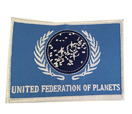 (Peaceomind Star Trek TNG United Federation of Planets UFP Flag Embroidered Iron On Patch)