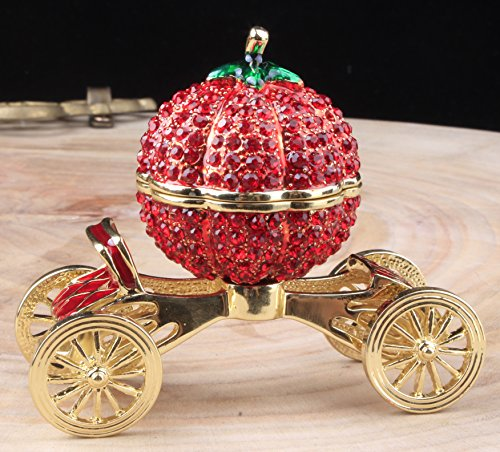 (znewlook Crystal Carriage Jewelry Box Home Decoration Cinderellas Pumpkin Carriage Beautiful Jewelry Box Trinket Gift for Girls)
