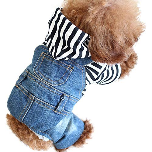OSPet Dog Denim Hoodies Puppy Jacket Pet Vest Outfit Dog Clothes Jumpsuit Overall for Small -