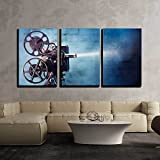 wall26 - 3 Piece Canvas Wall Art - Photo of an Old Movie Projector - Modern Home Decor Stretched and Framed Ready to Hang - 24'x36'x3 Panels