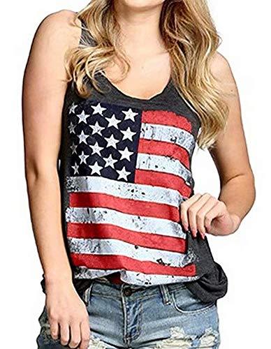 MOMOER American Flag Racerback Tank Tops Womens Vintage Distressed July 4th Summer Sleeveless Vest Tee Black