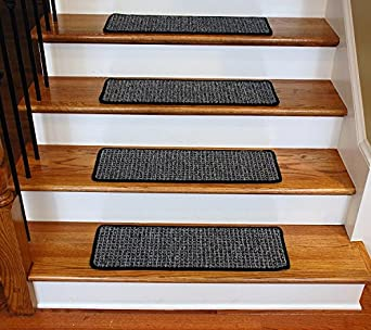 Elegant Washable Non Skid Carpet Stair Treads   Silvered Sky (13)
