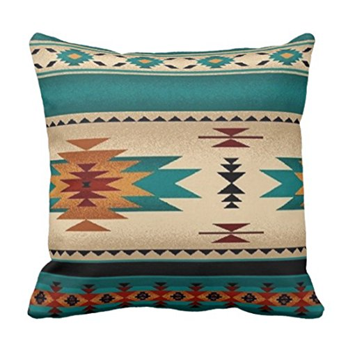 Emvency Throw Pillow Cover Tribal Fabric Print Turquoise Blue Hue Decorative Pillow Case Western Home Decor Square 20 x 20 Inch Cushion Pillowcase