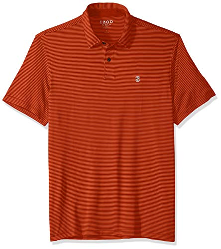 IZOD Men's Performance Golf Greenie Stripe Polo, Aurora red/Orange Medium