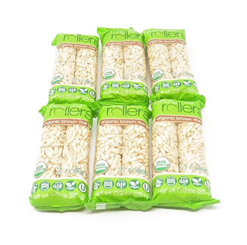 Organic Brown Crunchy Rice Rollers Delicious Snack Non GMO, Gluten Free 6 Packs (Total 12 pieces) - Bamboo Fat