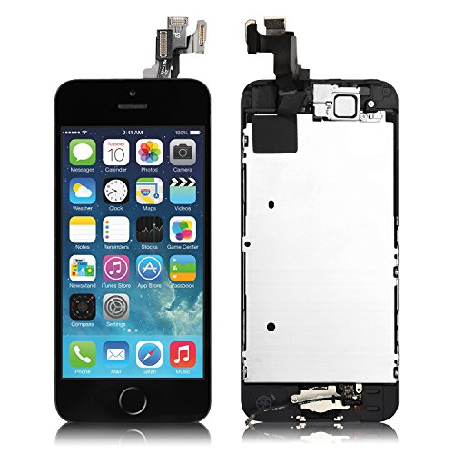For iPhone 5s Screen Replacement Black - 4.0 with [Home Button] [Front Camera] [Proximity Sensor] [Ear Speaker] [Screen Protector] [Repair Tools] LCD Display Touch Digitizer Full Assembly Repair Kit