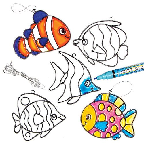 (Baker Ross Tropical Fish Stained Glass Suncatcher Hanging Decorations for Children to Paint and Display (Pack of 6) )