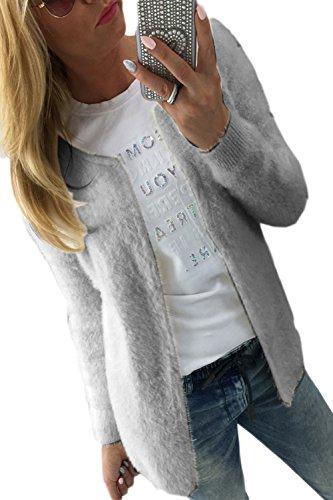 Manches Occasionnels Haut Outercoat Pull Les Ouverte Veste Grey Longues Devant qqaBg