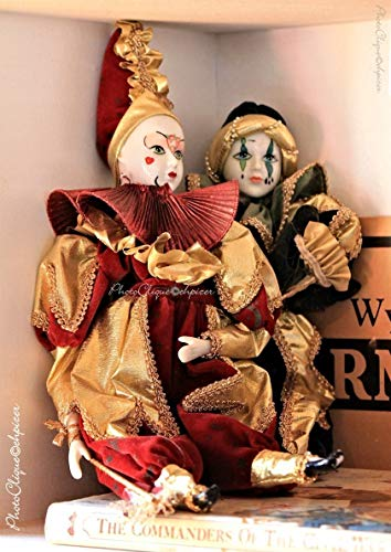 Harlequin Antique - Harlequin Dolls/Nostalgic Still Life of Antique Porcelain Dolls/Fine Art Photography Print