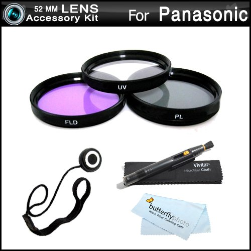 52mm Circular Polarizer Multicoated Glass Filter Microfiber Cleaning Cloth for Panasonic Lumix DMC-GH3 CPL