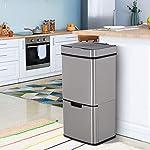 HOMCOM-Cubo-de-Basura-Apertura-Automatica-Sensor-Papelera-Reciclaje-para-Cocina-Dormitorio-72L-Acero-INOX