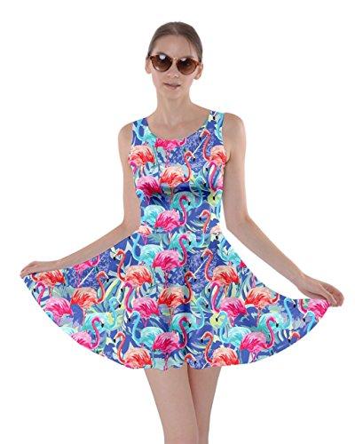 Cowcow Femmes Flamants Roses Oiseaux Plume Robe D'été Chaud Patineur Bord De La Plage Tropicale Partydress, Xs-5xl Bleu Coloré