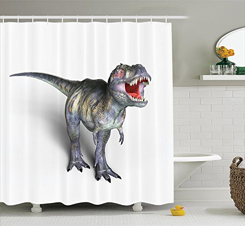 [Jurassic Decor Collection Dinosaur Lizard Monster Dangerous Creature Extinction History Museum Nature Pattern Polyester Fabric Bathroom Shower Curtain] (Museum Of Country Life And Costume)