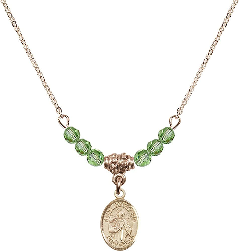 18-Inch Hamilton Gold Plated Necklace with 4mm Peridot Birthstone Beads and Gold Filled Saint Januarius Charm.