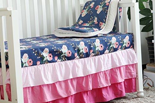Sahaler Boho Chic Coral Floral Ruffle Baby Minky Blanket