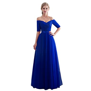 uk availability 0840b 87b3c Beauty-Emily Lungo Cerimonia Abito da Sera Elegante Damigella per Le Donne-  Vestiti da Damigelle Onore,Blu Reale/Viola/Borgogna/Borgogna Abiti da ...