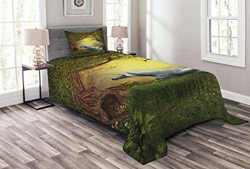 Ambesonne Unicorn Bedspread Set Twin Size, Enchanted Forest Fantasy Magical Willow Trees Wildflowers Woodland Animal Folklore, 2 Piece Decorative Quilted Coverlet with 1 Pillow Sham, Green White