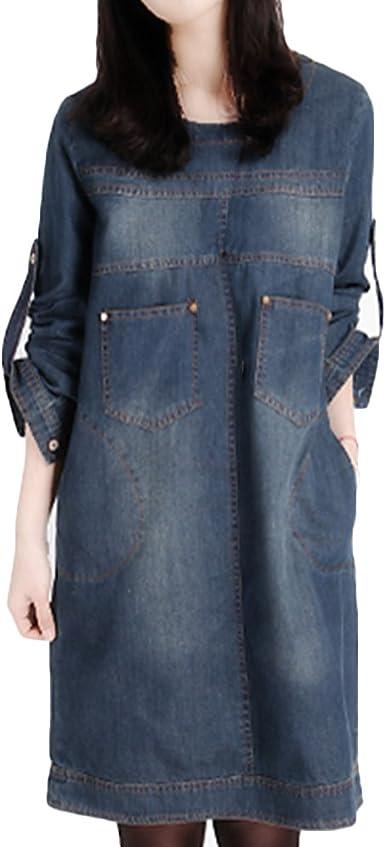 XZmy Women Long Sleeve Fitted Cotton Denim Shirt Dress O Neck Denim Tunic Dress
