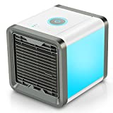 Fitfirst Personal Space Air Cooler, 3 in 1 USB Mini Portable Air Conditioner, Humidifier, Purifier 7 Colors Nightstand, Desktop Cooling Fan Office Home Outdoor Travel