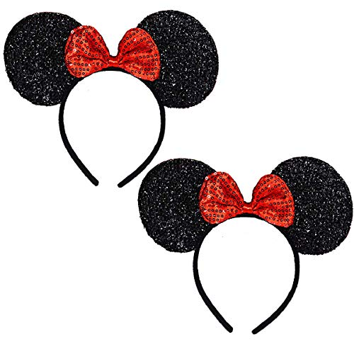 Mickey Minnie Mouse Ears, FANXIER Set of 2 Minnie Ears Headbands Sequin Hair Band for Girls Women Boys Party (Sequin -
