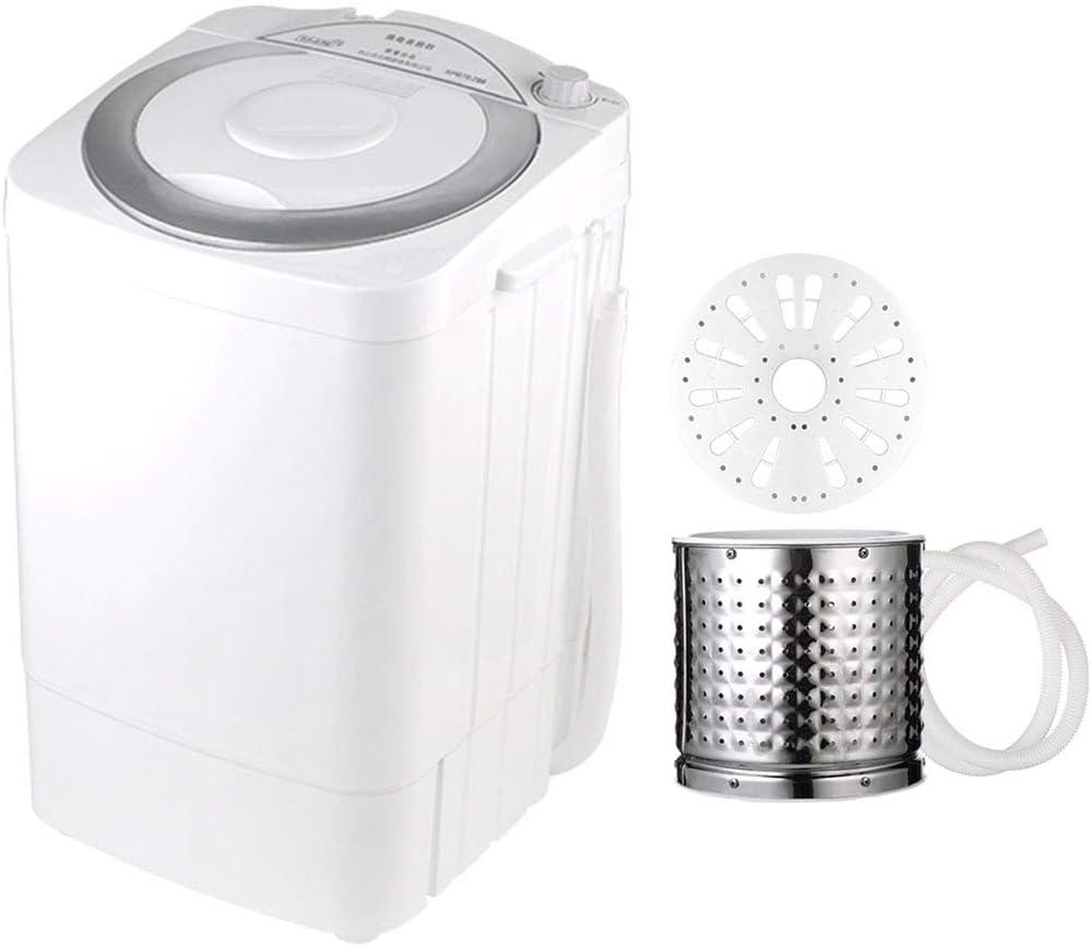 ELEXERT Mini Lavadora,Lavadora Portatil,MonocilíNdrica 8 Kg De Capacidad Total Bajo Consumo Silencioso Combo Compacta para Niños Pequeños Apartamentos De Viaje para Dormitorios de Camping,Silver