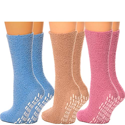 Debra Weitzner Non slip Hospital Socks Women Men Fuzzy Socks Cozy Socks 6 pairs