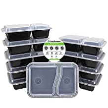 Freshware 10-Pack 2 Compartment Bento Lunch Boxes with Lids - Stackable, Reusable, Microwave, Dishwasher & Freezer Safe - Meal Prep, Portion Control, 21 Day Fix & Food Storage Containers (27oz)