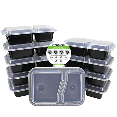 Freshware 10 Pack Compartment Bento Lunch
