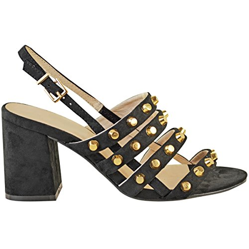 Fashion Thirsty Womens Ladies Block High Heels Studded Strappy Open Toe Celeb Sandals Shoes Size Black Faux Suede kdKgdYnJ