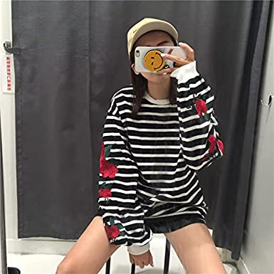 EDC-OnSale New Autumn Harajuku Hoodies Roses Embroidery Lantern Sleeve Loose Striped Women Sweatshirt Girl Vintage Elegant Casual Tops White One Size at ...
