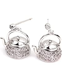 White Gold GP CZ Teapot Paved Crystal Silver Color kettle Women Girl Drop Earrings
