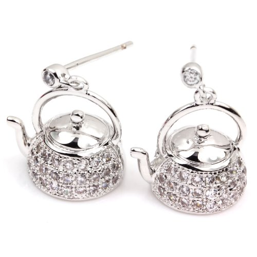 FC JORY White Gold GP CZ Teapot Paved Crystal Silver Color kettle Women Girl Drop Earrings