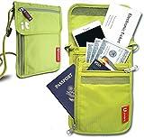Neck Passport Wallet - Travel Document Organizer w/RFID Blocking - Travel Concealed Carry & Passport Holder (Neck Green)