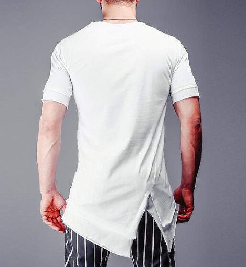 Nanquan Men Short Sleeve Hipster Solid Round Neck Irregular T-Shirt Tee
