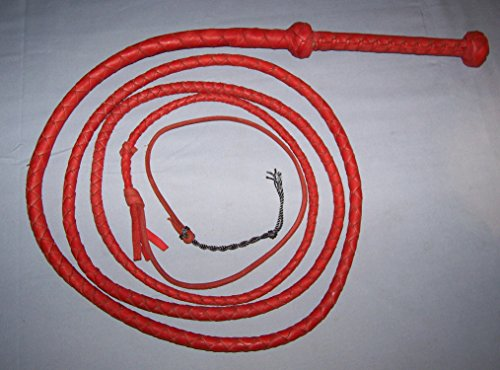 Redhide 10 foot 4 Plait Real Cowhide Leather Ausse Redhide Style BULLWHIP