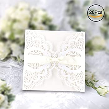 elegant invitations cards kits gospire 20pcs laser cut lace wedding party invitations cards with printable