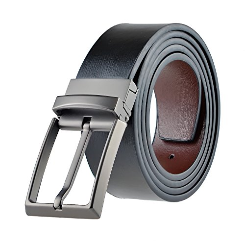 Men Reversible Casual Leather Belt for Jeans 34mm Wide Black and Brown (Leather Reversible Jeans)