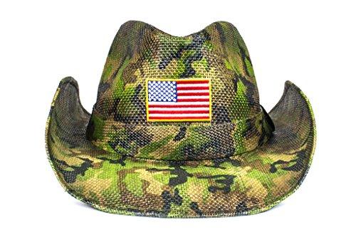 Cowbucker USA Camo Flag Straw Cowboy Hat (Lightweight Outdoor Wide Brim Sun Hat)]()